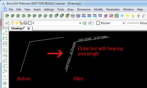 """Draw bearing and length text utility"""